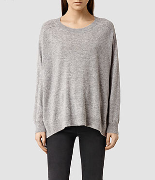 Womens Emmy Cashmere Sweater (Light Grey Marl)