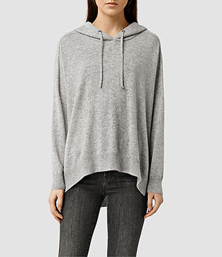 Womens Emmy Cashmere Hoody (Light Grey Marl)