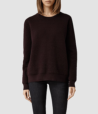 Womens Relief Sweater (Deep Burgundy)