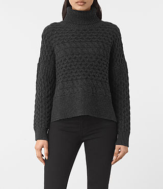 Femmes Reed Funnel Neck Jumper (Cinder Black)