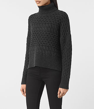 Womens Reed Funnel Neck Sweater (Cinder Black) - product_image_alt_text_3