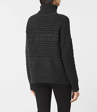 Womens Reed Funnel Neck Sweater (Cinder Black) - product_image_alt_text_4
