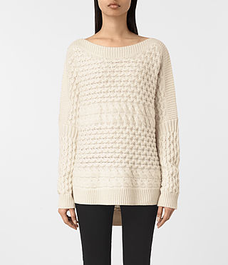 Mujer Reed Boat Neck Sweater (White)
