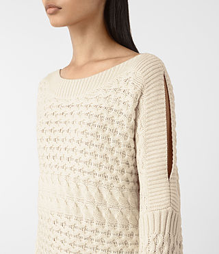 Mujer Reed Boat Neck Jumper (White) - product_image_alt_text_2