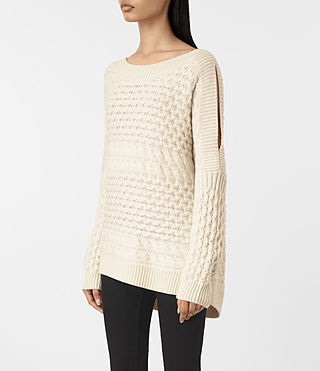 Mujer Reed Boat Neck Jumper (White) - product_image_alt_text_3