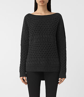 Mujer Reed Boat Neck Sweater (Cinder Black)