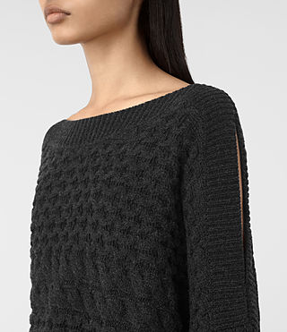 Womens Reed Boat Neck Sweater (Cinder Black) - product_image_alt_text_2