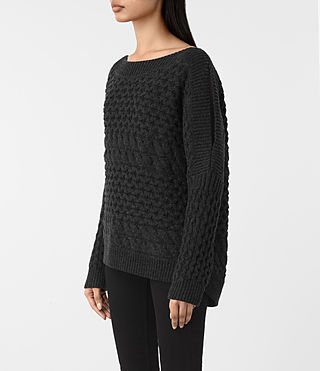 Womens Reed Boat Neck Sweater (Cinder Black) - product_image_alt_text_3