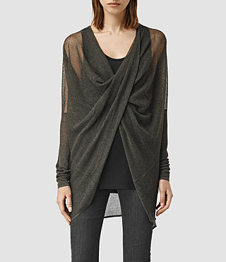 Womens Itat Lev Shrug Cardigan (Khaki Green)