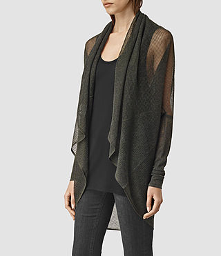 Women's Itat Lev Shrug Cardigan (Khaki Green) - product_image_alt_text_2