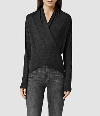 Womens Rola Twist Sweater (Cinder Black Marl)