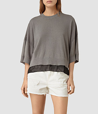 Damen Relm Knit Top (gunmetal green)