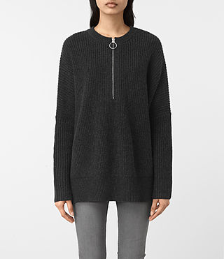 Womens Artillery Crew Neck Sweater (Cinder Black Marl)