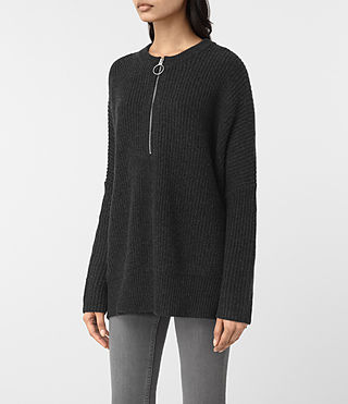Women's Artillery Crew Neck Jumper (Cinder Black Marl) - product_image_alt_text_3