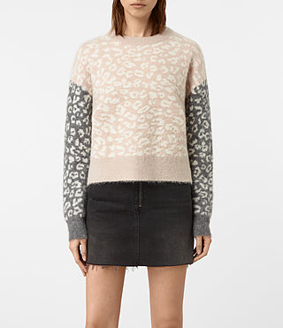Womens Leya Crew Neck Sweater (Pink) - product_image_alt_text_1