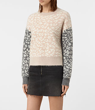 Womens Leya Crew Neck Sweater (Pink) - product_image_alt_text_3