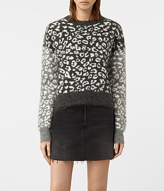 Damen Leya Crew Neck Jumper (Charcoal Grey)