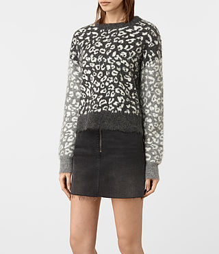 Women's Leya Crew Neck Jumper (Charcoal Grey) - product_image_alt_text_3