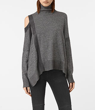 Womens Cecily Twist Jumper (Black/Grey Marl)