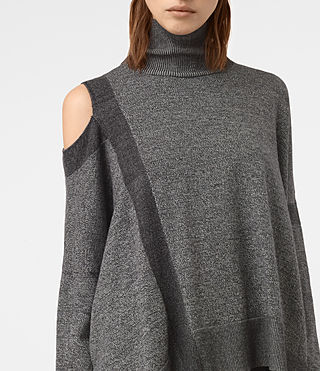 Womens Cecily Twist Sweater (Black/Grey Marl) - product_image_alt_text_2