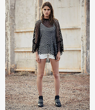Mujer Roma Mesh Tee (Black) - product_image_alt_text_4