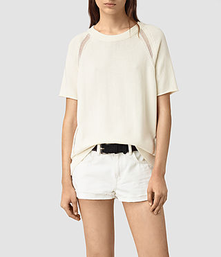 Mujer Lanta Knitted Tee (Chalk White) - product_image_alt_text_1
