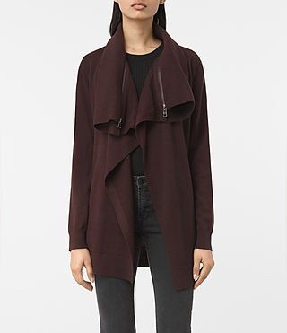 Womens Dahlia Cardigan (BORDEAUX RED) - product_image_alt_text_1