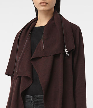 Women's Dahlia Cardigan (BORDEAUX RED) - product_image_alt_text_2
