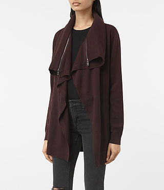 Damen Dahlia Cardigan (BORDEAUX RED) - product_image_alt_text_3