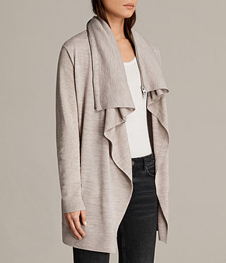 Women's Dahlia Cardigan (OATMEAL BROWN) - product_image_alt_text_4