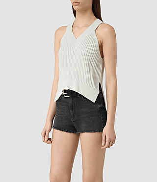 Mujer Manson Cropped Vest (PORCELAIN WHITE) - product_image_alt_text_2