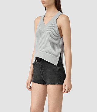 Women's Manson Cropped Vest (Light Blue) - product_image_alt_text_2