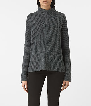 Mujer Terra Funnel Neck Sweater (SHADOW GREY)
