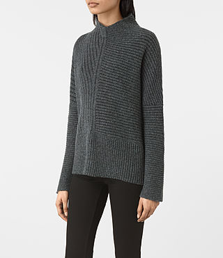 Womens Terra Funnel Neck Sweater (SHADOW GREY) - product_image_alt_text_3