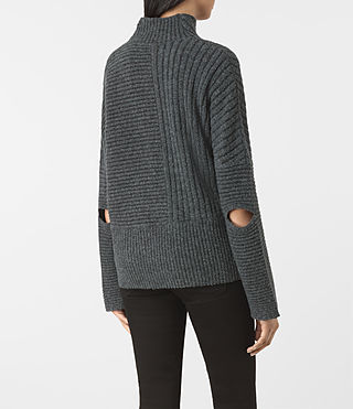 Womens Terra Funnel Neck Sweater (SHADOW GREY) - product_image_alt_text_4