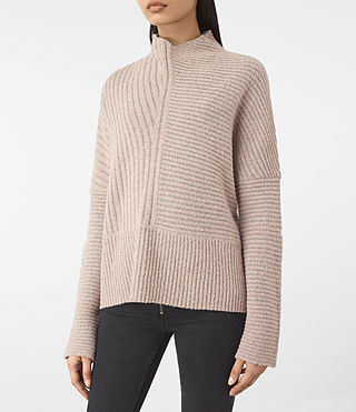 Women's Terra Funnel Neck Jumper (NUDE PINK) - product_image_alt_text_3