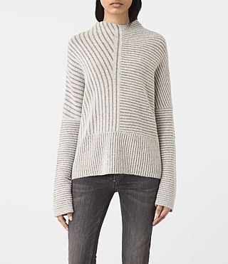 Mujer Terra Funnel Neck Jumper (CREAM WHITE)
