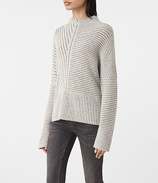 Mujer Terra Funnel Neck Jumper (CREAM WHITE) - product_image_alt_text_3
