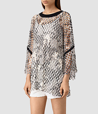 Mujer Roma Print Mesh Tee (Black/White) - product_image_alt_text_3