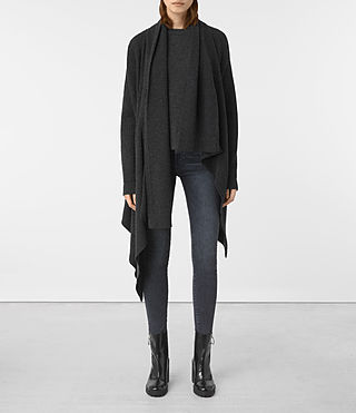Womens Lori Blanket Cardigan (Cinder Black)
