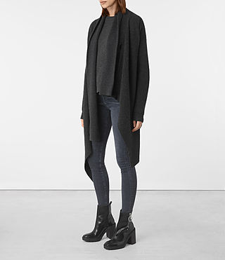 Womens Lori Blanket Cardigan (Cinder Black) - product_image_alt_text_3