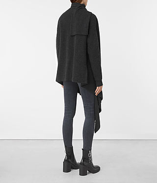 Womens Lori Blanket Cardigan (Cinder Black) - product_image_alt_text_5