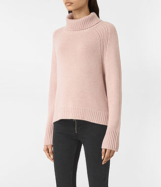 Women's Arrin Cashmere Jumper (Whisper Pink) - product_image_alt_text_3