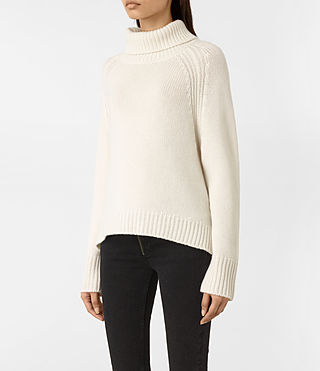Women's Arrin Cashmere Jumper (Chalk White) - product_image_alt_text_3