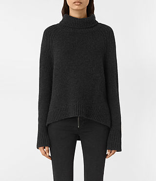 Womens Arrin Cashmere Sweater (Cinder Black)