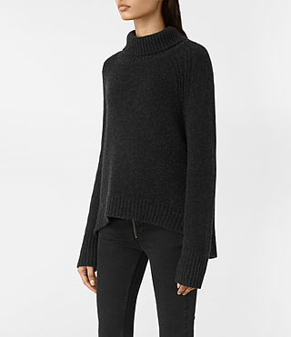 Womens Arrin Cashmere Sweater (Cinder Black) - product_image_alt_text_3