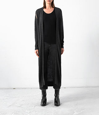 Damen Long Sonic Cardigan (Cinder Black Marl)