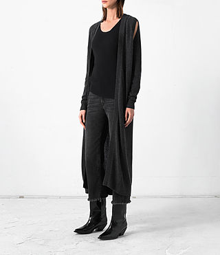 Donne Long Sonic Cardigan (Cinder Black Marl) - product_image_alt_text_2