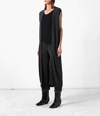 Donne Long Sonic Cardigan (Cinder Black Marl) - product_image_alt_text_3