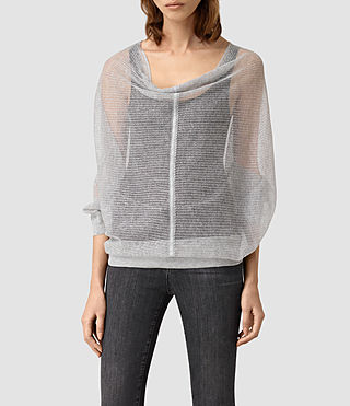 Womens Elgar Lev Cowl Sweater (Light Grey)